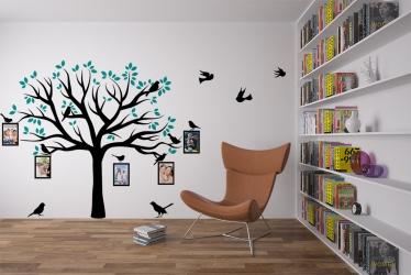 Naklejka ścienna drzewo genealogiczne ze zdjęciami - ptaszki, ramki na zdjęcia - DZ-NA-01