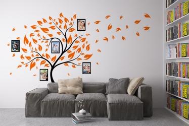 Naklejka ścienna drzewo genealogiczne ze zdjęciami - ramki, listki - DZ-NA-02