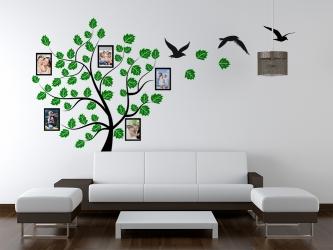 Naklejka ścienna drzewo genealogiczne ze zdjęciami - ramki, ptaki - DZ-NA-06