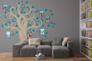 Naklejka ścienna drzewo genealogiczne ze zdjęciami - ramki, kwiatki, zdjęcia - DZ-NA-08