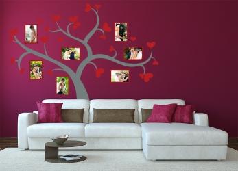 Naklejka ścienna drzewo genealogiczne ze zdjęciami - ramki, serduszka - DZ-NA-09