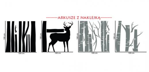 Naklejka ścienna z motywem drzew oraz zwierzątek - LAS-1