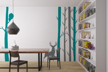 Naklejka ścienna z motywem drzew oraz zwierzątek - LAS-3