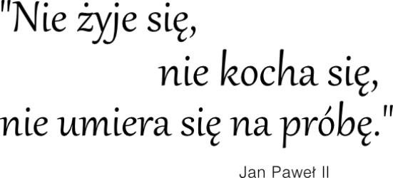 Nie żyje się, nie kocha się, nie umiera się na próbę - Jan Paweł II ? NA-82