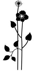 Naklejka ścienna - kwiatuszek z listkami KW-NA-18